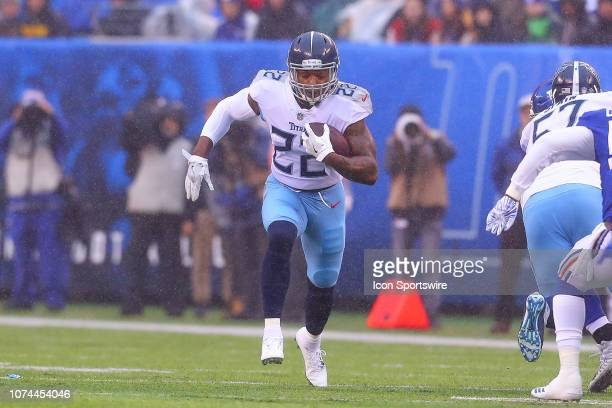 Tennessee Titans running back Derrick Henry runs during the National Football League game between the New York Giants and the Tennessee Titans on...