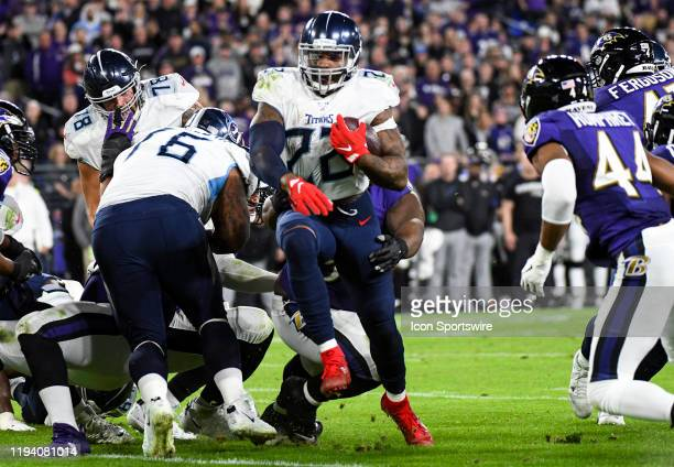 Tennessee Titans running back Derrick Henry runs out of tackle attempt on January 11 at MT Bank Stadium in Baltimore MD in the AFC Divisional Playoff...