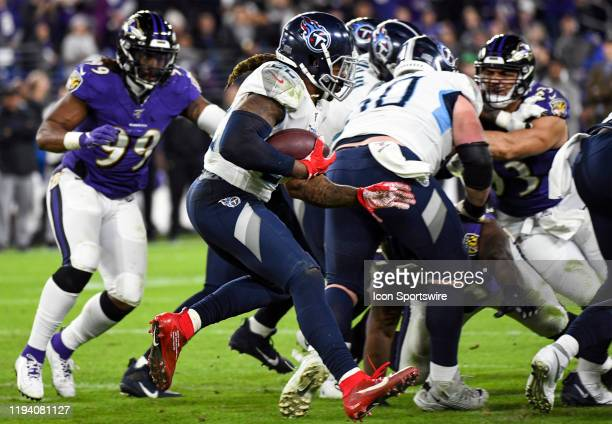 Tennessee Titans running back Derrick Henry runs the ball against the Baltimore Ravens on January 11 at MT Bank Stadium in Baltimore MD in the AFC...