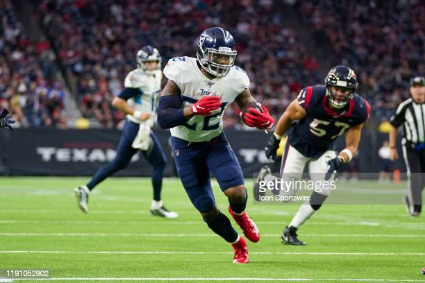 Tennessee Titans running back Derrick Henry runs the ball during the game between the Tennessee Titans and Houston Texans on December 29, 2019 at NRG...