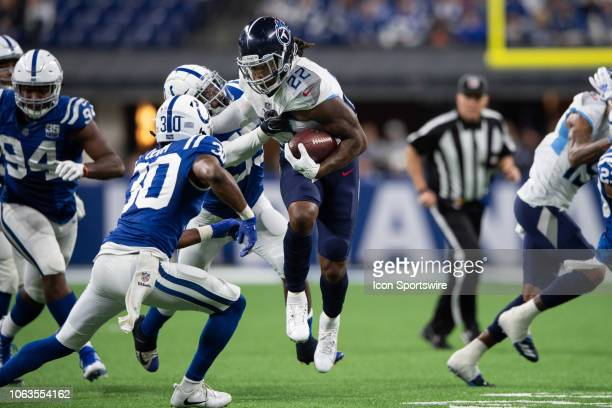 Tennessee Titans running back Derrick Henry runs up the middle during the NFL game between the Indianapolis Colts and Tennessee Titans on November 18...