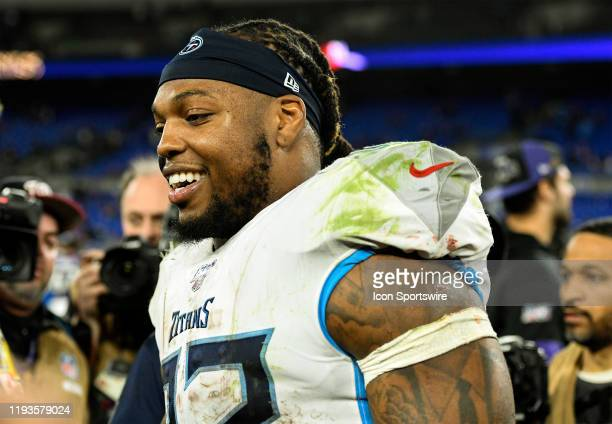 Tennessee Titans running back Derrick Henry walks off the field on January 11 at M&T Bank Stadium in Baltimore, MD. Following the AFC Divisional...