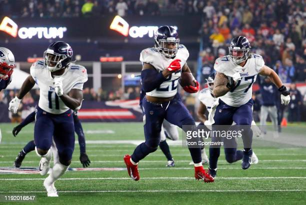 Tennessee Titans running back Derrick Henry with escorts during an AFC Wild Card game between the New England Patriots and the Tennessee Titans on...