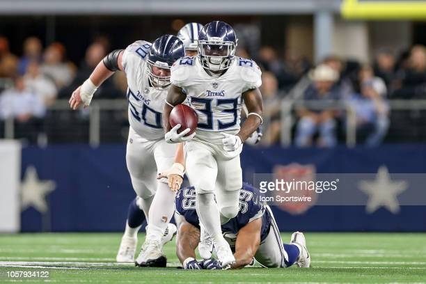 Tennessee Titans running back Dion Lewis breaks through the line of scrimmage for a long gain during the game between the Tennessee Titans and Dallas...