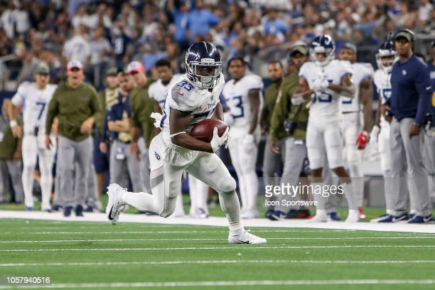 Tennessee Titans running back Dion Lewis rushes with the ball during the game between the Tennessee Titans and Dallas Cowboys on November 5 2018 at...