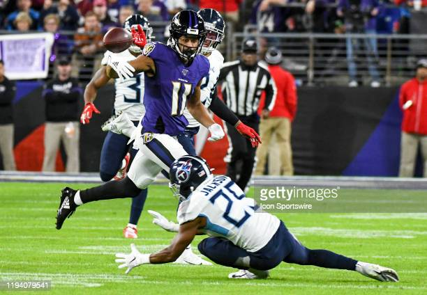 Tennessee Titans strong safety Kenny Vaccaro deflects a pass intended for Baltimore Ravens wide receiver Seth Roberts on January 11 at MT Bank...