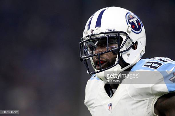 Tennessee Titans tight end Delanie Walker is shown during the second half of an NFL football game against the Tennesse Titans in Detroit Michigan USA...