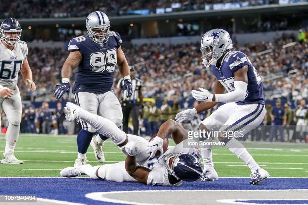 Tennessee Titans tight end Jonnu Smith scores a touchdown during the game between the Tennessee Titans and Dallas Cowboys on November 5 2018 at ATT...