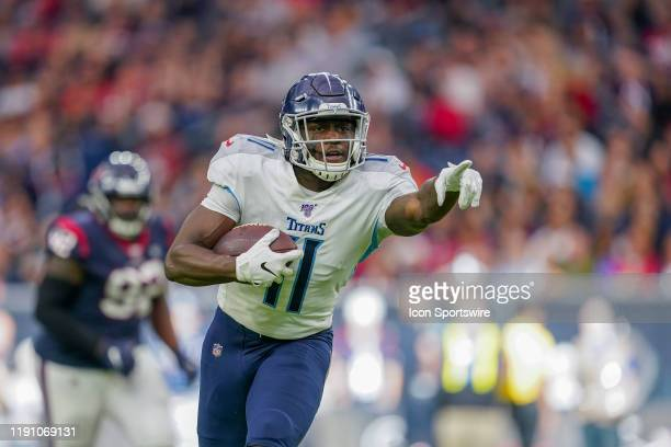 Tennessee Titans wide receiver A.J. Brown points to a defender during the game between the Tennessee Titans and Houston Texans on December 29, 2019...