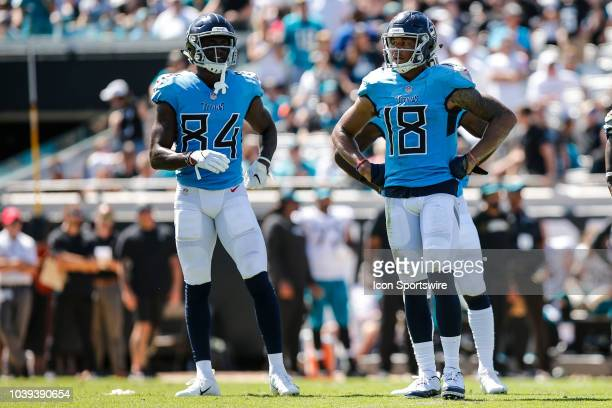 Tennessee Titans wide receiver Corey Davis and Tennessee Titans wide receiver Rishard Matthews looks on during the game between the Tennessee Titans...