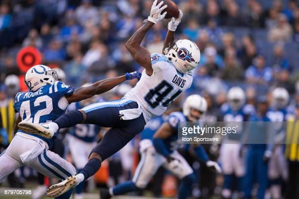 Tennessee Titans wide receiver Corey Davis catches a deep pass down the middle of the field over Indianapolis Colts cornerback Kenny Moore II during...