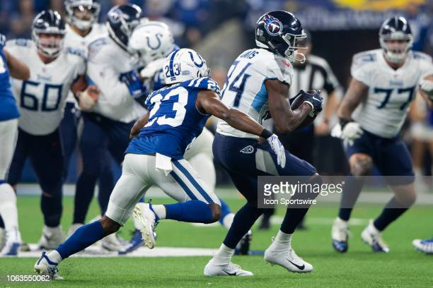 Tennessee Titans wide receiver Corey Davis catches a pass over the middle against Indianapolis Colts cornerback Kenny Moore II during the NFL game...