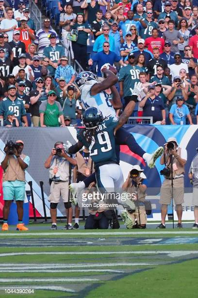 Tennessee Titans Wide Receiver Corey Davis catches the game winning touchdown during the football game between the Philadelphia Eagles and the...