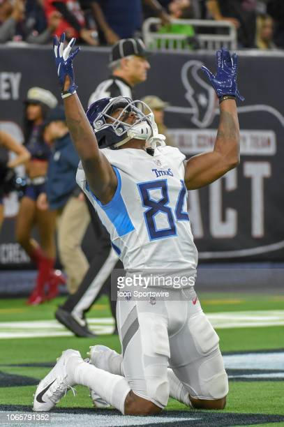 Tennessee Titans Wide Receiver Corey Davis celebrates a touchdown reception during the football game between the Tennessee Titans and Houston Texans...