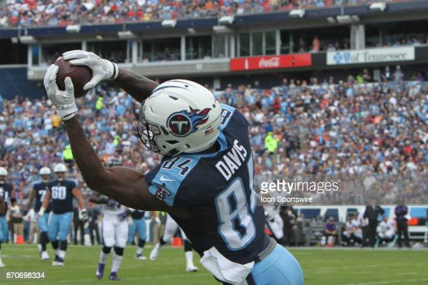 Tennessee Titans wide receiver Corey Davis hauls in a pass along the sideline in the Titans' game against the Baltimore Ravens on November 05 2017 at...