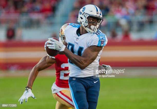 Tennessee Titans wide receiver Corey Davis reels in a catch in the forth quarter during the game between the San Francisco 49ers and the Tennessee...