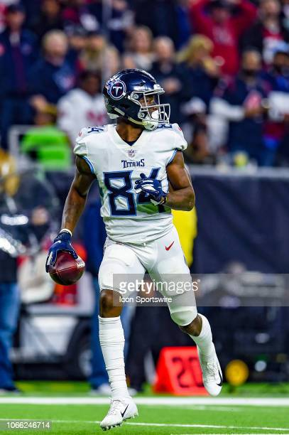 Tennessee Titans wide receiver Corey Davis runs the ball during the football game between the Tennessee Titans and Houston Texans on November 26 2018...