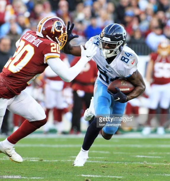 Tennessee Titans Wide Receiver Corey Davis stiff arms Washington Redskins defender Ha Ha ClintonDix in the first half of a game between the Tennessee...