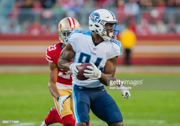 Tennessee Titans wide receiver Corey Davis turns his body up field during the game between the San Francisco 49ers and the Tennessee Titans on...