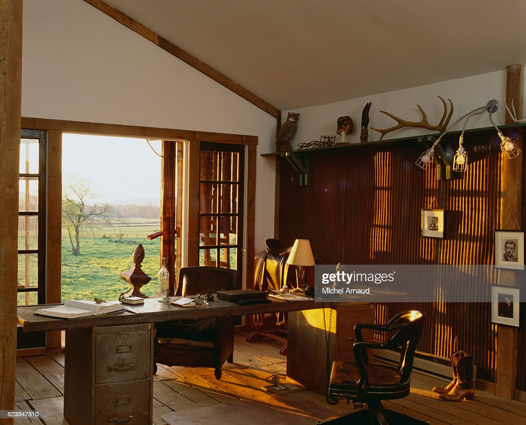 Tennessee Traditional Horse Farm French Doors Open To Study Stock Photo