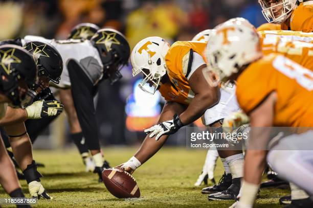 Tennessee Volunteers and Vanderbilt Commodores at the line of scrimmage during a college football game on November 30 at Neyland Stadium in Knoxville...