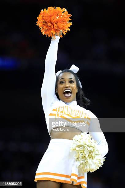 Tennessee Volunteers cheerleader performs during the second half against the Purdue Boilermakers of the 2019 NCAA Men's Basketball Tournament South...