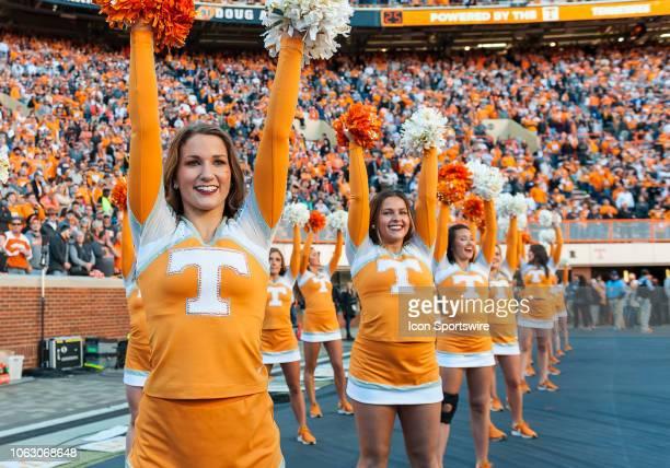 Tennessee Volunteers cheerleaders entertains the crowd during a college football game between the Tennessee Volunteers and Missouri Tigers on...