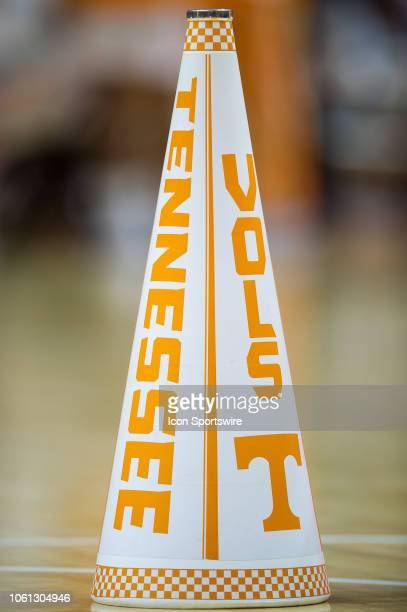 Tennessee Volunteers cheerleaders megaphone on sits on the court during a college basketball game between the Tennessee Volunteers and Georgia Tech...