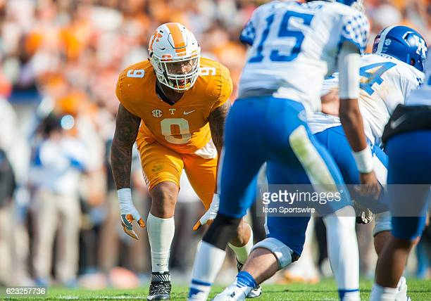 Tennessee Volunteers defensive end Derek Barnett waiting for the the ball to snap during a game between the Kentucky Wildcats and Tennessee...