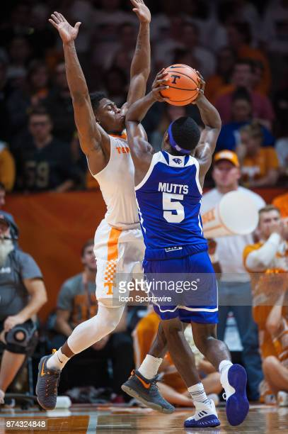 Tennessee Volunteers forward Admiral Schofield guarding High Point Panthers forward Justyn Mutts during a game between the High Point Panthers and...