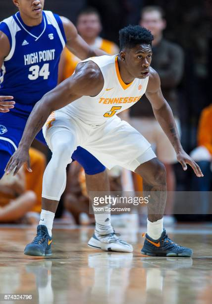 Tennessee Volunteers forward Admiral Schofield playing defense during a game between the High Point Panthers and Tennessee Volunteers on November 14...