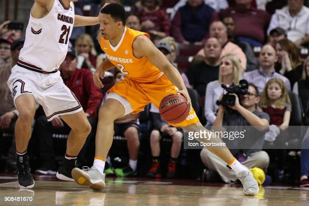 Tennessee Volunteers forward Grant Williams during the SEC matchup on January 20 2018 between Tennessee and South Carolina at Colonial Life Arena in...