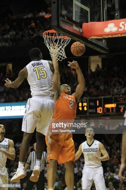 Tennessee Volunteers forward Grant Williams shot is blocked by Vanderbilt Commodores defender Clevon Brown in a regular season game between the...