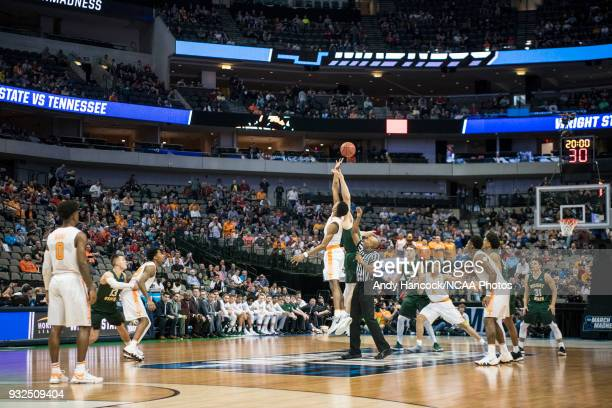 Tennessee Volunteers forward Kyle Alexander and Wright State Raiders center Loudon Love tipoff the game between the University of Tennessee and the...