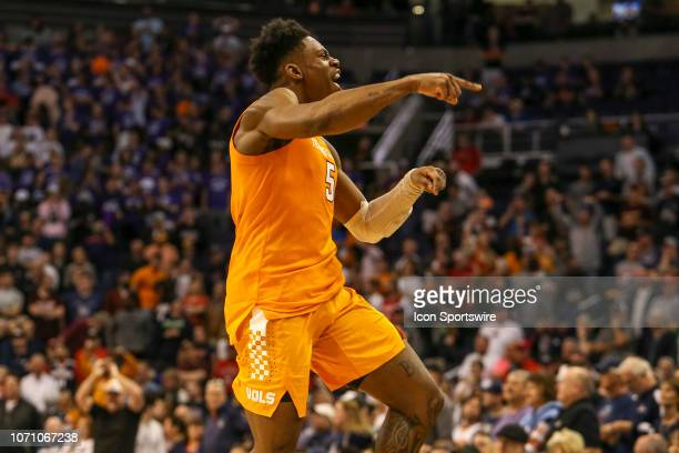 Tennessee Volunteers guard Admiral Schofield celebrates defeating Gonzaga Bulldogs 7673 after a college basketball game between the Gonzaga Bulldogs...