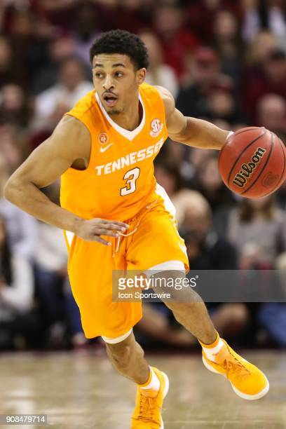 Tennessee Volunteers guard James Daniel III dribbles up court against the South Carolina Gamecocks during the second half SEC matchup on January 20...