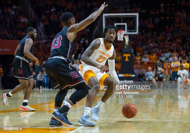 Tennessee Volunteers guard Jordan Bowden being guarded by LenoirRhyne Bears guard Djibril Diallo during a college basketball game between the...