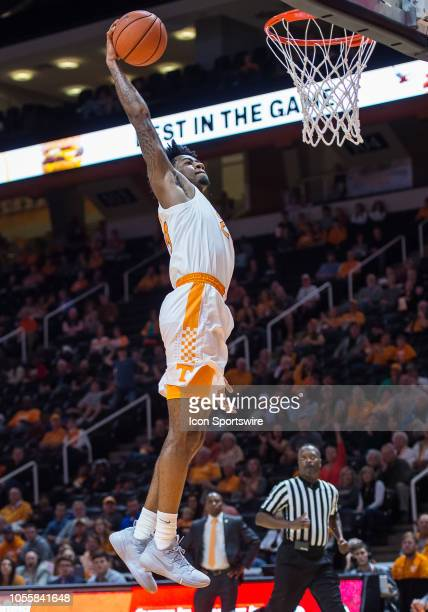 Tennessee Volunteers guard Jordan Bowden goes in for a dunk during a game between the Tusculum Pioneers and Tennessee Volunteers on October 31 at...