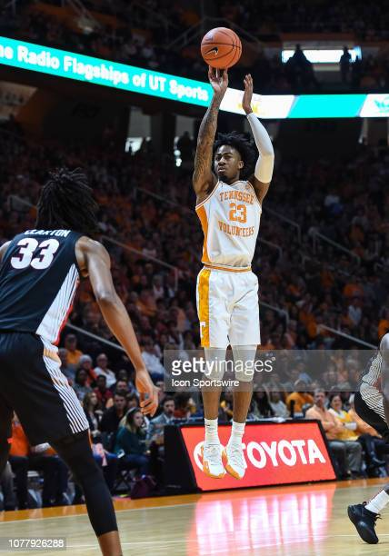 Tennessee Volunteers guard Jordan Bowden takes a shot during a college basketball game between the Tennessee Volunteers and Georgia Bulldogs on...