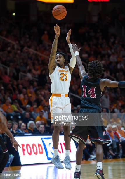 Tennessee Volunteers guard Jordan Bowden takes a shot over LenoirRhyne Bears guard Cory Thomas during a college basketball game between the...