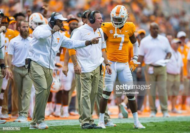 Tennessee Volunteers head coach Butch Jones talks with Tennessee Volunteers wide receiver Brandon Johnson during a game between the Indiana State...