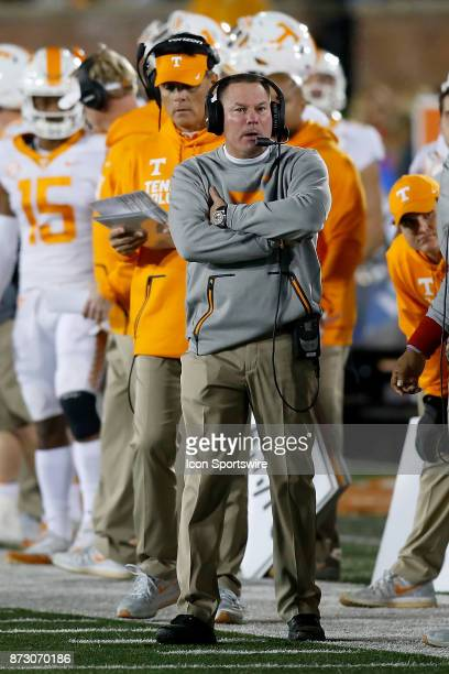 Tennessee Volunteers head coach Butch Jones watches from the sideline during the first half of a football game against the Missouri Tigers Saturday...