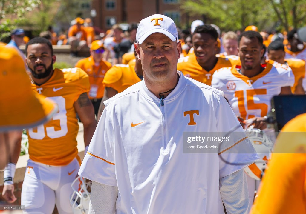.Tennessee Volunteers head coach Jeremy Pruitt leads the team in the Vol Walk prior to the Tennessee spring game on April 21, 2018, at Neyland Stadium in Knoxville, TN.