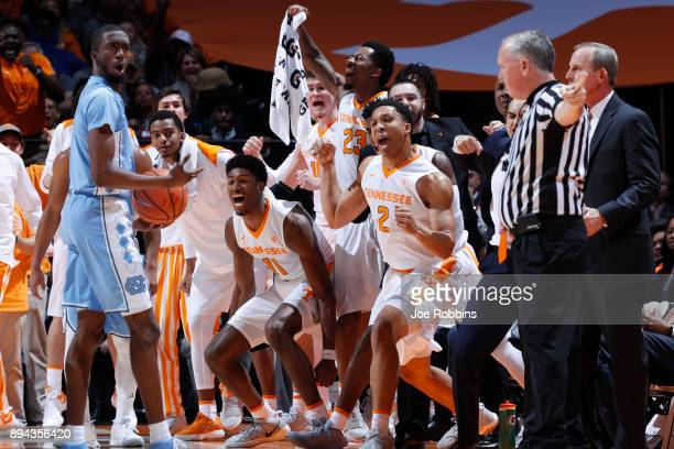 Tennessee Volunteers players celebrate after a turnover in the first half of a game against the North Carolina Tar Heels at ThompsonBoling Arena on...