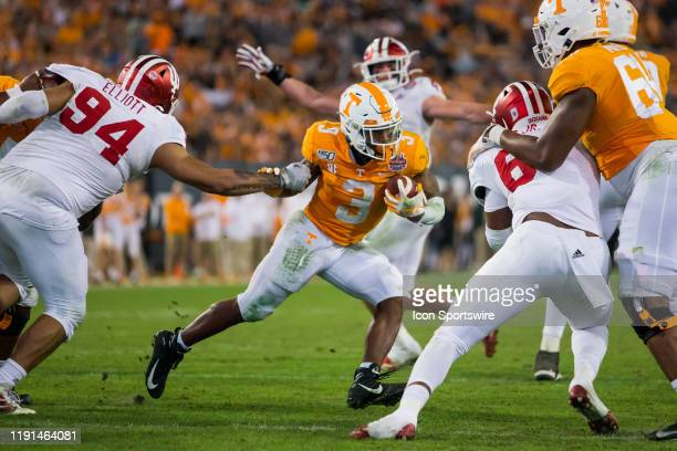 Tennessee Volunteers running back Eric Gray rushes during the 2020 TaxSlayer Gator Bowl game between the Indiana University Hoosiers and the...