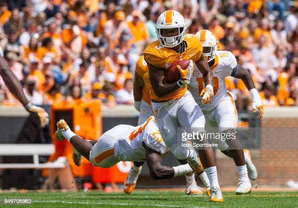Tennessee Volunteers running back Ty Chandler runs the ball up field during the Tennessee spring game on April 21 at Neyland Stadium in Knoxville TN