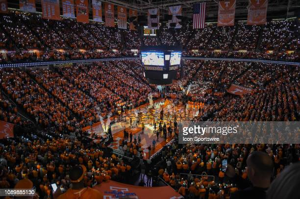 Tennessee Volunteers team introduction before a college basketball game between the Tennessee Volunteers and West Virginia Mountaineers on January 26...