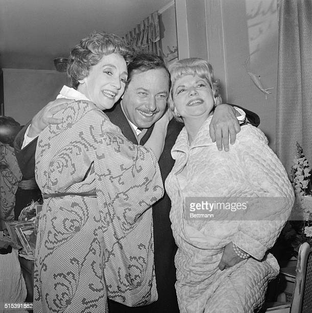 Tennessee Williams with Mildred Dunnock and Hermione Braddeley, who are both stars in his new Broadway play The Milk Train Doesn't Stop Here Any...