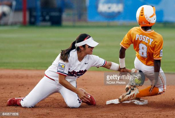 Tennessee's Kenora Posey steals second base from Arizona's Chelsie Mesa during the Division l Women's softball championship held at ASA Hall of Fame...