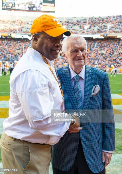 Tennessee's long time playbyplay announcer John Ward poses with former Tennessee quarterback and Assistant Athletics Director for StudentAthlete...